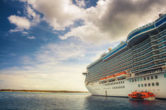 Cruise ship on open sea. Cruise ship floating on the open sea in the Eastern Caribbean Stock Image