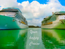 Cruise ship in open water side view Royalty Free Stock Image