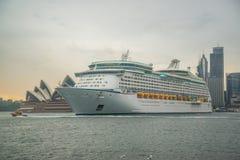 Cruise ship at Opera House. Cruise ship docking at Opera House Stock Image