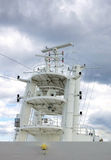 Cruise Ship Operations. Cruise ship radars, lights and antennas, operation center Stock Photo