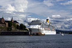 Cruise ship in Oslo, Norway. Cruiseship in harbour of Oslo, Norway Royalty Free Stock Images