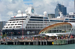 Cruise ship outside The Cloud on Queens Wharf in Auckland waterf Royalty Free Stock Images