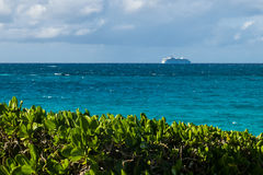Cruise Ship Over The Horizon. A beautiful view of the ocean, a cruise ship, and big leaves bushes during a bright sunny day Stock Images