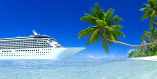 Cruise ship  and palm tree Royalty Free Stock Images