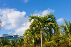 Cruise ship and palm trees at Grand Turk, Turks and Caicos Islands in the Caribbean Royalty Free Stock Photography