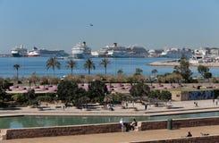 Cruise ship in palma de mallorca´s port stock photography