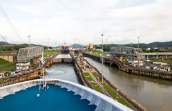 Cruise ship in Panama Canal Stock Image