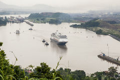Cruise ship in Panama Canal Stock Images