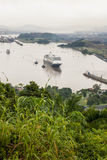 Cruise ship in Panama Canal Royalty Free Stock Photography