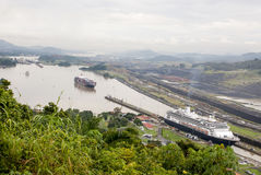 Cruise ship in Panama Canal Royalty Free Stock Photo