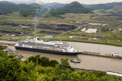 Cruise ship in Panama Canal Stock Photography