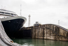 Cruise ship in Panama Canal Royalty Free Stock Image