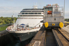 Cruise ship in Panama Canal Royalty Free Stock Photos