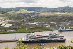 Cruise ship in Panama Canal Stock Photos