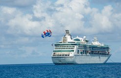 Cruise Ship and Parasailing Royalty Free Stock Photo