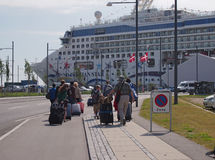 Cruise ship pasengers. International cruise passengers of norwegian star at ocean quay copenhagen Stock Photography
