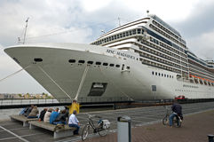 Cruise ship at the Passenger Terminal Amsterdam Stock Photos
