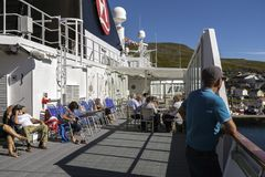 Cruise Ship Passengers. Passengers on board of an arctic cruise ship in Honningsvåg royalty free stock photography