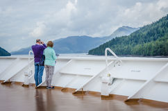 Cruise ship passengers look out for marine life Royalty Free Stock Photos