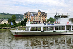 Cruise ship with passengers on the Moselle River Stock Photo