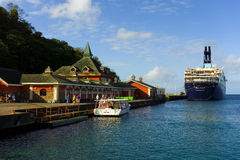 Cruise ship passengers taking an excursion from the cruise ship facility at kingstown Stock Image
