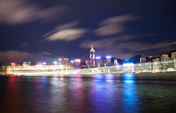 Cruise ship passing Victoria harbour in Hong Kong Royalty Free Stock Image