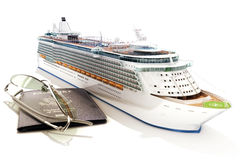 Cruise ship with passport and glasses Royalty Free Stock Images