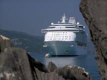 Cruise Ship Peek A Boo. A cruise ship in Labadee, Haiti Royalty Free Stock Image