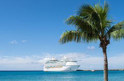 Cruise ship at pier in Caribbean Islands. Large cruise ship at pier in Caribbean Islands with palm tree in foreground Royalty Free Stock Photography