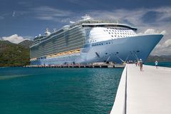 Cruise ship on the pier in the caribbean sea Royalty Free Stock Photo