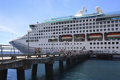 Cruise ship and a pier in port Stock Photos
