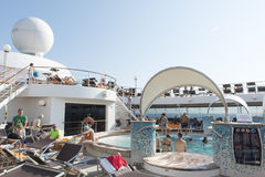 Cruise ship pool deck Royalty Free Stock Images
