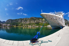 Cruise ship in the por Stock Images