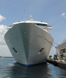 Cruise ship in port. Giant cruise in port front view Stock Photography