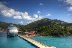 Cruise ship at Port. A cruise ship at the port at St. Thomas, U.S. Virgin Islands Stock Image