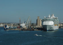 Cruise Ship and Port. Cruise ship doked in Cagliari (Sardinia - Italy Royalty Free Stock Photo