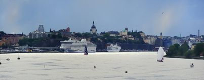 Cruise Ship in Port. Aide Cruise Ship at Stockholm Royalty Free Stock Photos