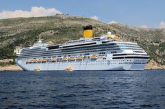 Luxury Cruise Ship laying at anchor Stock Photography