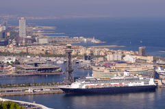 Cruise ship in port of Barcelona, Spain Stock Images