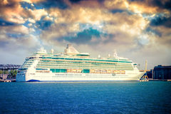 Cruise ship in port Stock Images