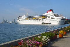 Cruise ship in port of Cartajena, Colombia Royalty Free Stock Photos