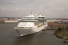 Cruise ship in the port of colon panama stock photos
