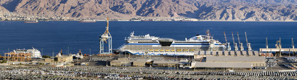 Cruise ship in port of Eilat, Israel Stock Images