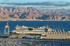 Cruise ship in port of Eilat, Israel Stock Photos