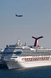 Cruise Ship in Port Everglades. With Plane Flyover Stock Photo