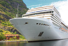Cruise ship in the port of Flaam Stock Photos
