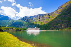 Cruise ship in the port of Flam, Norway. Cruise ship in the port of famous Flam, Norway Royalty Free Stock Photos