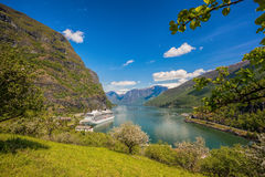 Cruise ship in the port of Flam, Norway. Cruise ship in the port of famous Flam, Norway Stock Photos