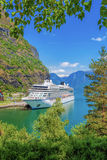 Cruise ship in the port of Flam, Norway. Stock Photography