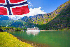 Cruise ship in the port of Flam, Norway. Stock Image